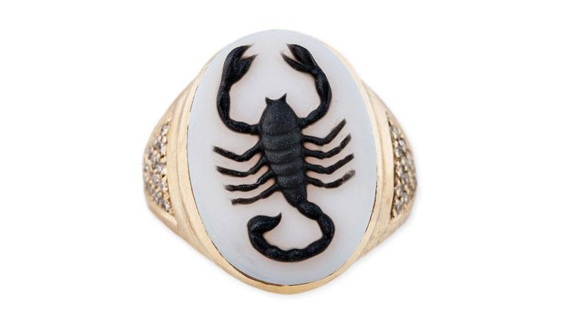 jacquie aiche carved agate scorpio cameo ring