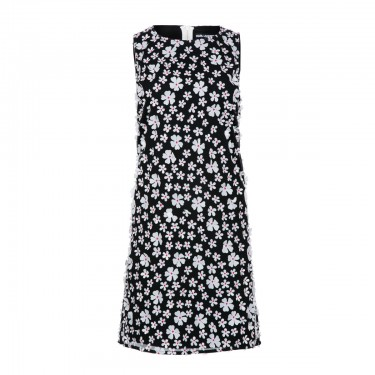 karl lagerfeld paris sleeveless dress with 3d applique overlay