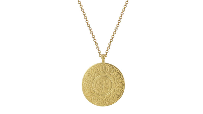 me and ro 18k gold large gemini astrology pendant