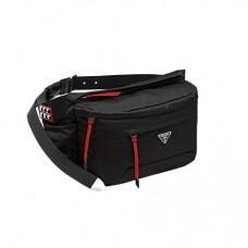 prada black and red nylon belt bag