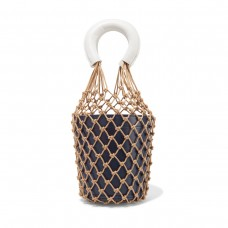 staud moreau two tone macrame and leather bucket bag
