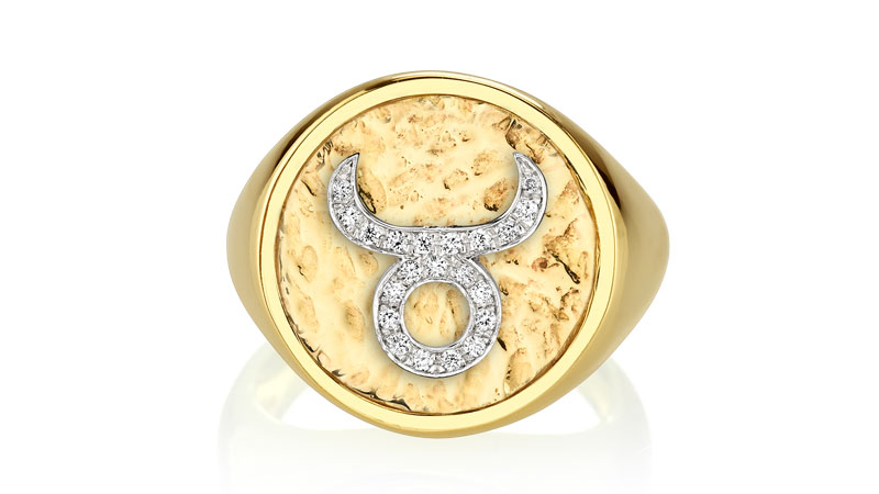 the last line diamond coin zodiac ring in taurus