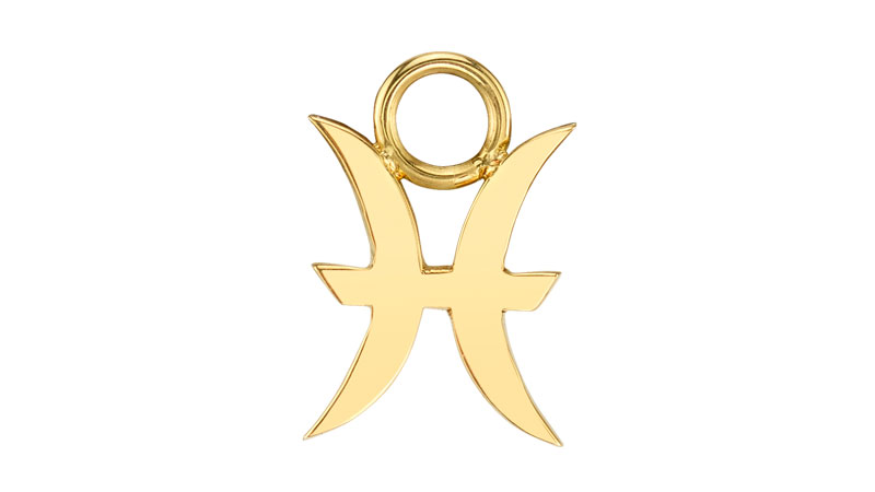 the last line gold zodiac hoop charm in pisces