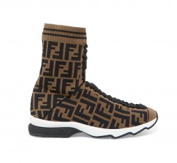 Logo-Jacquard Stretch-Knit and Mesh Sneakers by Fendi