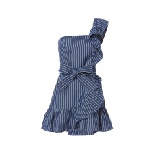 alexis konner dress in denim stripes