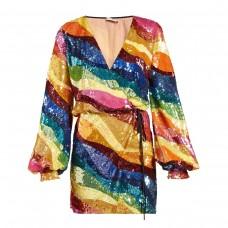 attico rainbow striped sequin dress