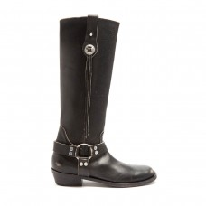 balenciaga santiago distressed leather knee high boots