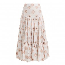 caroline constas peasant floral embroidered tiered skirt