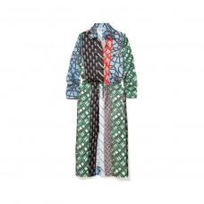 carven layered print silk twill dress