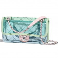 chanel flap bag pvc lambskin silvertone metal blue green pink