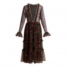 dodo bar or roberta embellished floral print chiffon dress