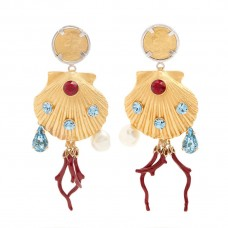 dolce and gabbana crystal embellished shell drop clip on earrings