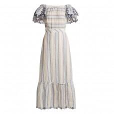 gul hurgel ruffled sleeve striped linen dress