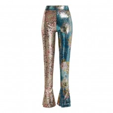 halpern high rise sequin embellished skinny trousers