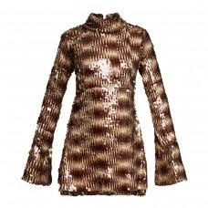 halpern sequin embellished high neck flared sleeve dress