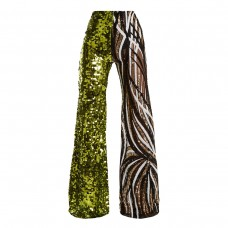 halpern sequin embellished high rise flared trousers