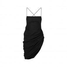 jacquemus saudade asymmetric ruched wool pique mini dress