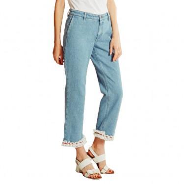 jour ne pantalon denim details froufrou