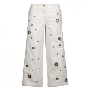 kenzo eyelet embellished denim culottes