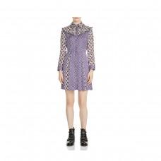 maje reed mixed print silk dress