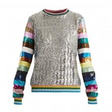 mary katrantzou magpie sequin embellished crew neck sweatshirt