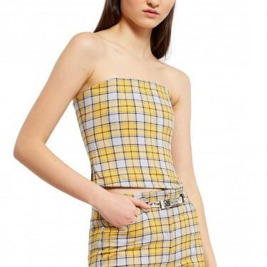 miaou lucy corset yellow plaid