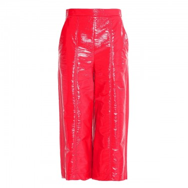 msgm glossed faux leather culottes