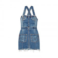 re/done levis two tone distressed denim mini dress