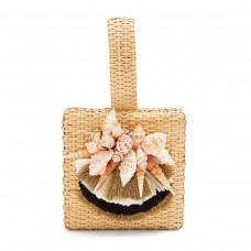 sanayi 313 iris seashell embellished straw box bag