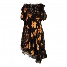 simone rocha floral print asymmetric gathered dress