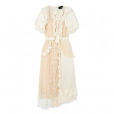 simone rocha ruffled silk satin midi dress