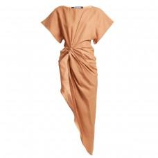 jacquemus asymmetric ruched linen blend top