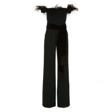 alexandra vidal off the shoulder feather jumpsuit