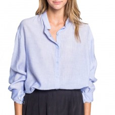 almina soft linen collarless blouse