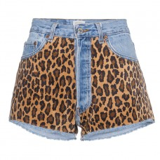 beau souci denim shorts with leopard