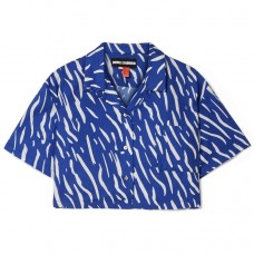 double rainbouu cropped printed cotton voile shirt