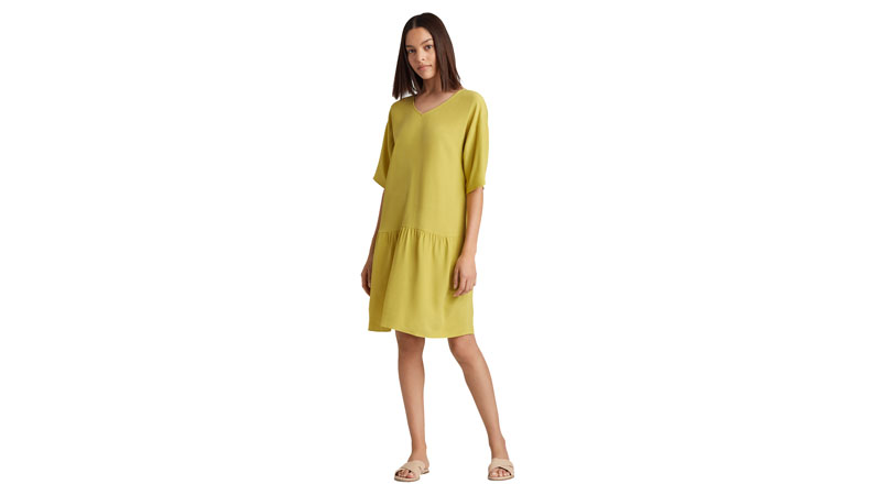 eileen fisher tencel viscose crepe drop-waist dress