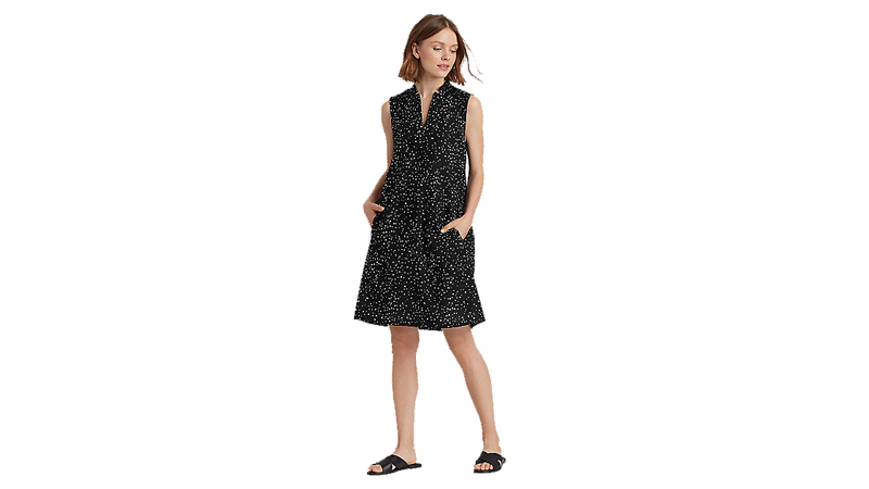 eileen fisher dot-printed organic cotton a-line dress