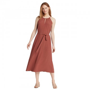 eileen fisher tencel viscose crepe halter dress