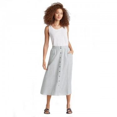 eileen fisher hem organic cotton stripe button-front skirt