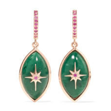marlo laz mini eye 14-karat rose gold sapphire and malachite earrings