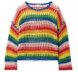 Striped Crotched Cotton Sweater by Mira Mikati