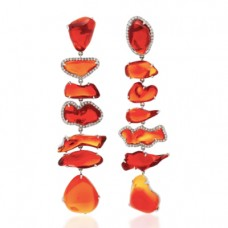 nina runsdorf one-of-a-kind fire opal long earrings