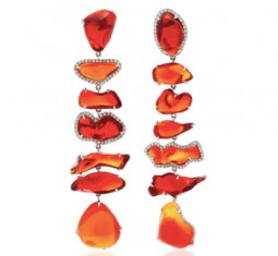 One-Of-A-Kind Fire Opal Long Earrings by Nina Runsdorf