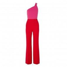 roland mouret one-shoulder two-tone wool-crepe jumpsuit
