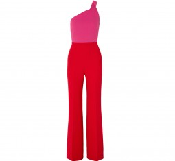 One-Shoulder Two-Tone Wool-Crepe Jumpsuit by Roland Mouret