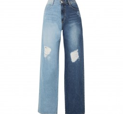 Two-Tone Distressed High-Rise Wide-Leg Jeans by SJYP