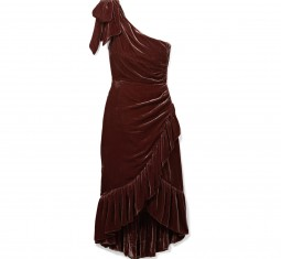 One-Shoulder Ruffled Velvet Dress by Ulla Johnson