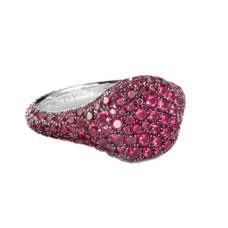 david yurman petite pave pinky ring with rubies in 18k white gold