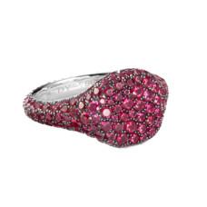 david yurman petite pave pinky ring with rubies in 18k white gold
